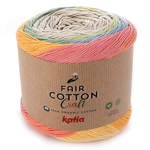 Fair Cotton Craft Fil Katia Yarn 503 Red, Yellow, Green