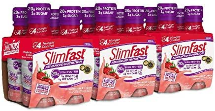 SlimFast Advanced Nutrition Meal Replacement Protein Shake, Strawberries & Cream, - Ready to Drink - 20g of Protein - Keto Friendly - 11 fl. oz. Bottle - 12 Count