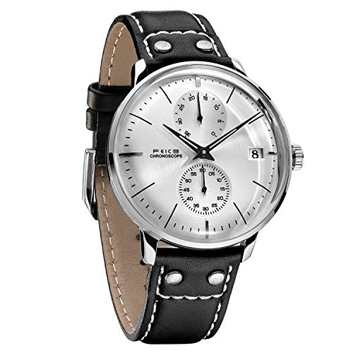 FEICE Men's Automatic Watch Mechanical Watch Stainless Steel Leather Band Watches Analog Curved Mirror Brushed Finish Casual Dress Watches for Men #FM212 (White) ()