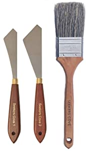 "Painting Knife Set of 2 and 2 Inch Blender Brush - Two Palette Knives with Natural Bristle Background Paint Brush - Straight Edge Gentle Flex for Art(Unit, 2"" Brush and Pair Knives)"