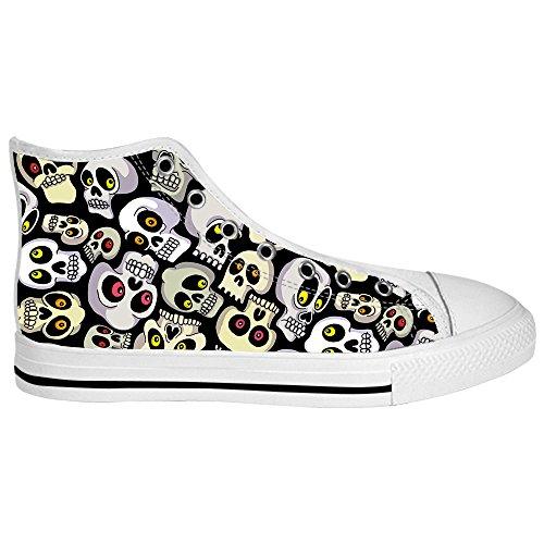 Custom skull Mens Canvas shoes Schuhe Lace-up High-top Sneakers Segeltuchschuhe Leinwand-Schuh-Turnschuhe B