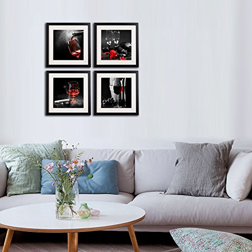 1178266b9fd Framed Wine And Grapes Wall Art Prints Posters For Living Room Decorations  Black White And Red Rose Wall Art Decor Artwork Canvas Paintings 4 Piece  Black ...