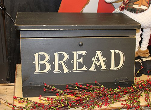 Distressed Wooden Stenciled Bread Box Country Kitchen