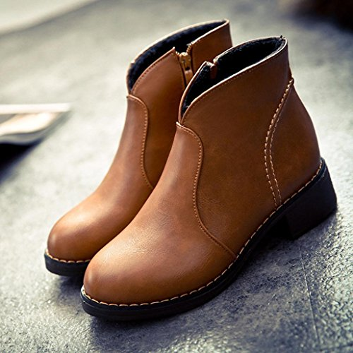 Slip Leather Toe on Boot Brown Heel Sikye Womens Round Boots Ankle Comfortable Low 5X6aqO