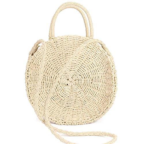 Round Straw Bag Crossbody Bag Handwoven Purse for Women Fashion Shoulder Bag