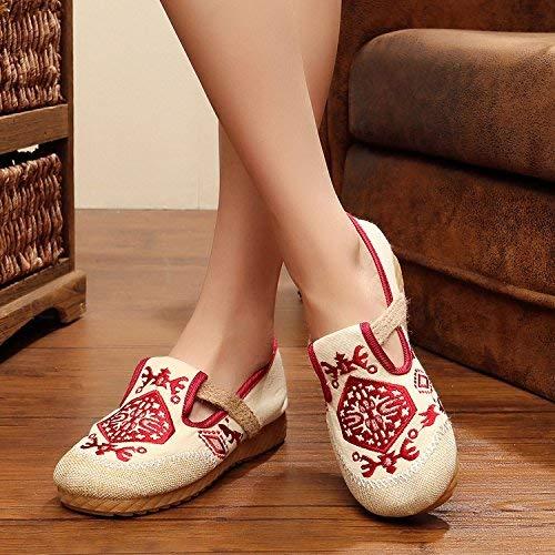 HhGold Bestickte Schuhe Sehnensohle Sehnensohle Sehnensohle Ethno-Stil weibliche Stoffschuhe Mode bequem lässig im Anstieg rot 36 (Farbe   - Größe   -) 7a57c3