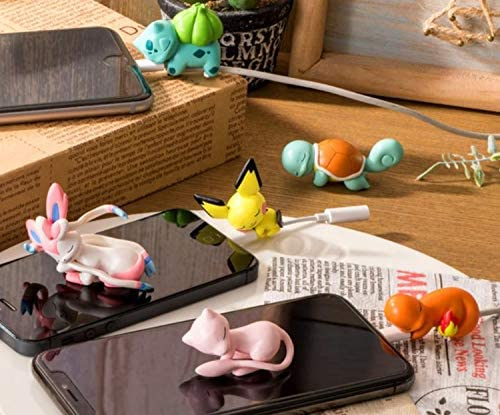 Pichu,Mew,Sylveon,Bulbasaur,Charmander,Squirtle Cute Anime Bite Cable Protector ,Cake Topper,Gift for Friends and Children 6 PCS Charger Pet,Cable Buddy Compatible with iPhone Cords Only