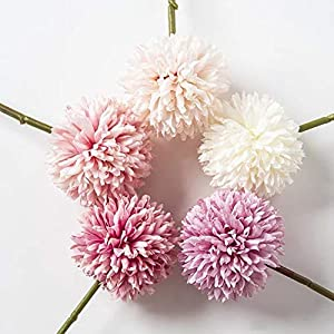 Jasion 10pcs Artificial Chrysanthemum Ball Flowers Bouquet for Present Home Office Coffee House Parties and Wedding Decoration 4