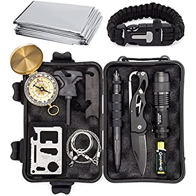 Complete 12 in 1 Survival Kit by Sealed Products - Batteries Included - Ultimate Outdoor Emergency Camping Tool with Paracord Bracelet, Compact Knife, Multitool, and More - Designed for Men and Women by Sealed Products