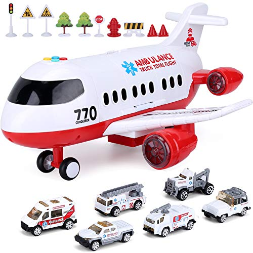 Newest Airplane Toys Set for Boys Kids Transport Cargo Plane with Sound and Colorful Lights Model Airplane Toys for 2 3 4 5 6+Year Old Birthday Gift for Boy/&Girls