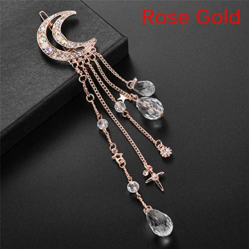 Moon Crystal Rhinestone Beads Dangle Hairpin Hair Clip Bridal Jewelry GIRL (Color - Rose Gold)
