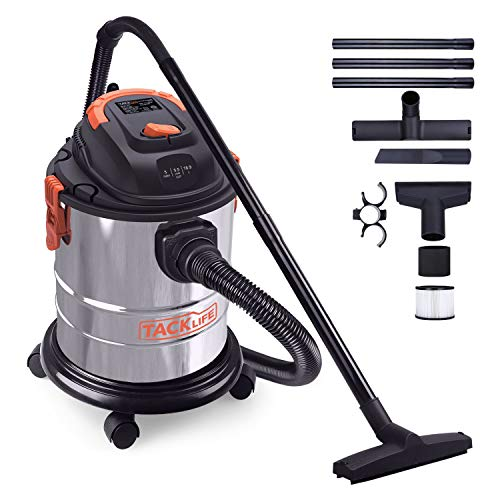 Wet Dry Vacuum, TACKLIFE 5 Gallon 5.5 Peak HP Shop Vacuum, 1000W Pure Copper Motor, Stainless Steel Wet Dry Blow 3 in 1 Multifunction, 4-Layer Filtration System,Portable Shop Vac with Attachments