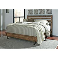 Ashley Furniture Signature Design - Dondie California King Platform Footboard with Rails - Headboard Sold Separately - Warm Brown