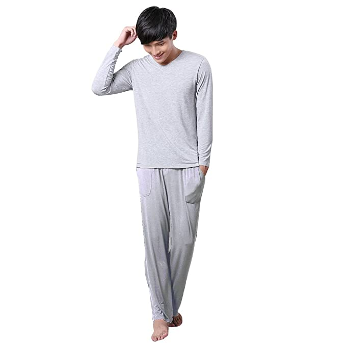 Confreebroon Men's Long Sleeve Home Casual Loose V Neck Modal Pajama Set free shipping