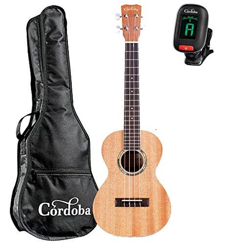Cordoba 15TM Tenor Ukulele Natural GuitarVault Kit with Cordoba Gig Bag and Clip-On Tuner by Cordoba