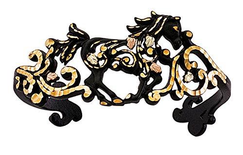 Black Powder Coat Horse Cuff Bracelet, 10k Yellow Gold, 12k Gold Black Hills Gold Motif, 7'' by Black Hills Gold Jewelry