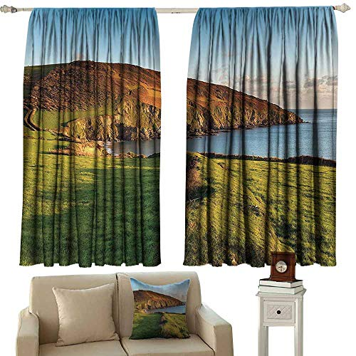 (Dabuniu Curtain Tailored Seaside Decor Collection The South West Coast Path as It Passes Hemmick Beach from Gorran Haven Cliffs Picture Curtains for Living Room W63x72L Inches Olive Green)