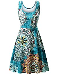 Women's Scoop Neck Sleeveless Midi Casual Flared Tank Floral Printed Dress …