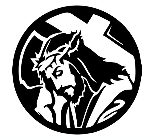 Jesus Carrying Cross Christian Decal Vinyl Sticker|Cars Trucks Vans Walls Laptop| White |5 x 5 in|CCI1068
