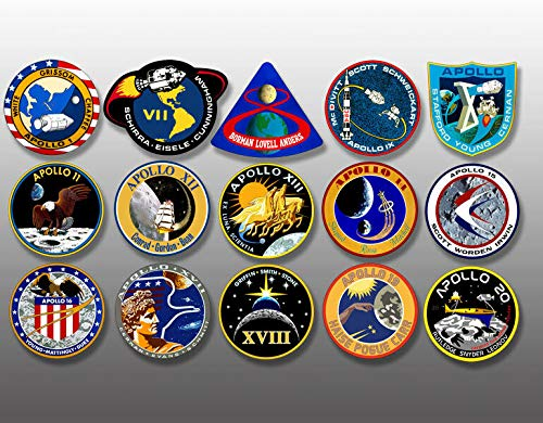 MAGNET SHEET of 1.5 inch tall All APOLLO Mission Logo Stickers -nasa scrapbook insignia Magnetic vinyl bumper sticker sticks to any metal fridge, car, signs