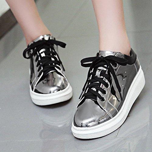 Carolbar Vrouwen Lace-up Lakleer Mode Platform Oxfords Schoenen Metaal Grijs