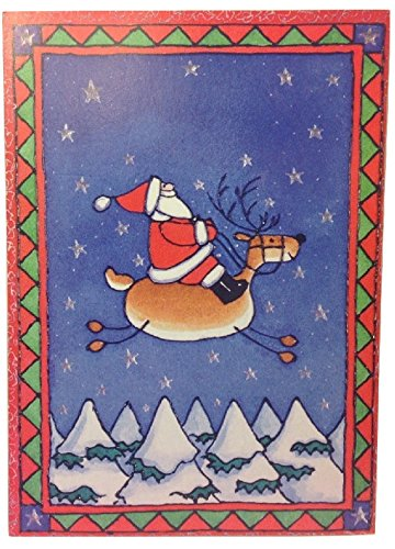 ((12) Folk Art Santa Claus Riding Reindeer Holiday Cards - White Envelopes - Hope Your Christmas Day is Full of Fun in Every Way - 4 1/2 x 6 1/2 inches)