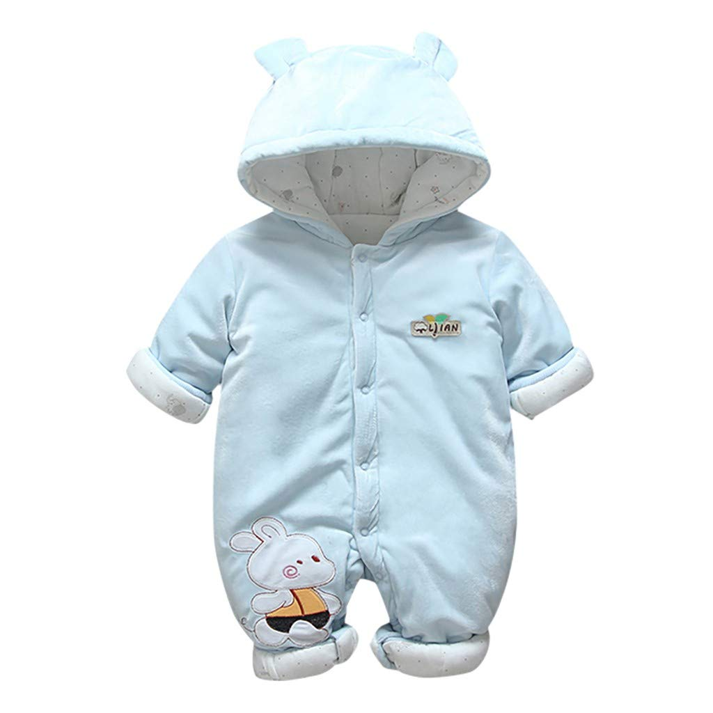 Wenini Newborn Toddler Baby Boys Girls Hooded Button Romper Jumpsuit Thickened Outfits Clothes by Wenini