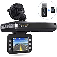 Aisino Dash Camera, 2 in 1 Radar Speed Detector and Car DVR Dashboard Camera Recorder with Full Band, Loop Recording, G-Sensor, Mute Button, 16GB TF Card, 2.0 LCD Screen, Grey