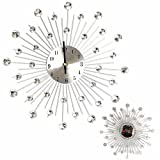 XIE@Excellent Quality 32.5cm Novelty Diamond Crystal Jeweled Beaded Sunburst Wall Clock living room Silver Wire Without battery