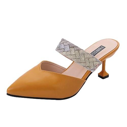 Sandalias y Zapatillas de Verano Femenino semirremolque señalaron Sandalias de Baotou Finos con la Ropa Exterior con Zapatos de Moda: Amazon.es: Zapatos y ...
