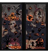 Coavas Halloween Window Clings Static Window Glass Ghost and Pumpkin Decals Stickers for Hallowee...