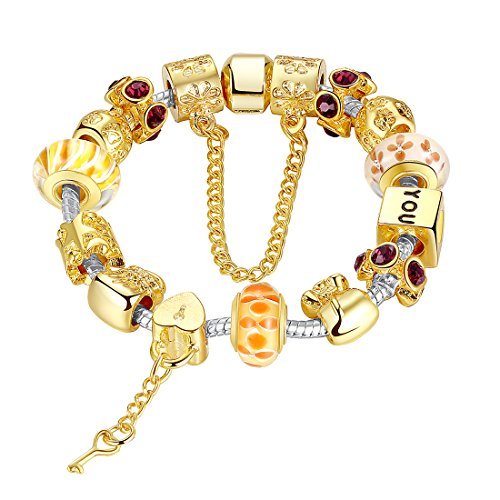 """BAMOER 2015 April New Arrival Love Key Series """"You Are My Sunshine"""" Gold Plated Hand-painted Glass Bead Bracelet with Safety Chain. Mother Day's Gifts"""