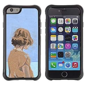 Paccase / Suave TPU GEL Caso Carcasa de Protección Funda para - Watercolor Blue Orange Girl Deep Sad - Apple Iphone 6 PLUS 5.5