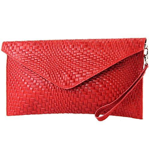 Evening Handbag T106F bag de Modamoda Braid pattern underarm bag bag bag Red ital Clutch Leather Wrist fqq6wn04