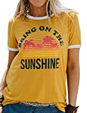 Bring On The Sunshine T-Shirt Top Women's Casual Short Sleeve Letter Print Tees Blouse (Large, Yellow)