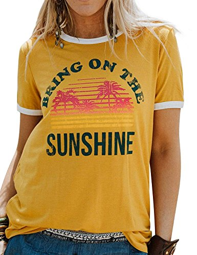 Bring On The Sunshine T-Shirt Top Women's Casual Short Sleeve Letter Print Tees Blouse (Small, Yellow)