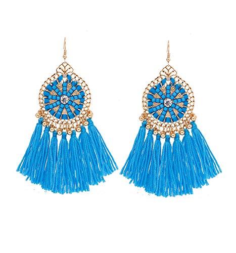 - HSWE Multicolored Short Tassel Earrings for Women Colorized Thread Fringe Earrings for Girls Custom Jewelry for Lady Dangle Drop Earrings (light blue)