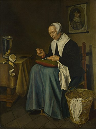 High Quality Polyster Canvas ,the Amazing Art Decorative Canvas Prints Of Oil Painting 'Johannes Van Der Aack An Old Woman Seated Sewing ', 18 X 24 Inch / 46 X (Kickass Female Costumes)