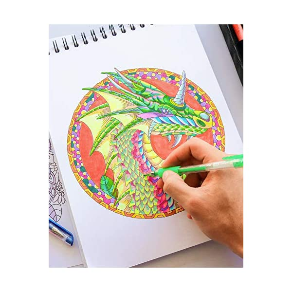 ColorIt-Colorful-Dragons-Adult-Coloring-Book-50-Single-Sided-Designs-Thick-Smooth-Paper-Lay-Flat-Hardback-Covers-Spiral-Bound-USA-Printed-Dragon-Pages-to-Color