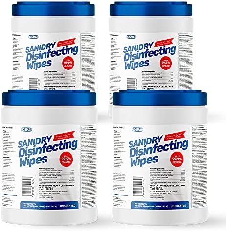 Rosmar SaniDry Disinfecting Wipes, 100 Count Canister 4 Pack, EPA Approved, Unscented, White, Nonabrasive, Multi-Surface Cleaning Wipes, for Use in Health Facilities, Schools, Industrial, Household…