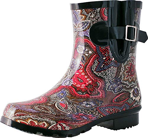 Nomad Women's Droplet Rain Boot, Berry Paisley, 8 Medium ()