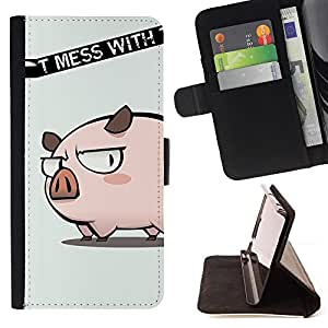 BullDog Case - FOR/Samsung Galaxy S4 Mini i9190 / - / Cute Don't Mess Pig /- Monedero de cuero de la PU Llevar cubierta de la caja con el ID Credit Card Slots Flip funda de cuer