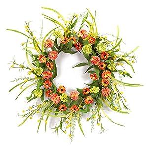 "Melrose International Orange Wild Flowers and Foliage Wreath, 28"" 78"