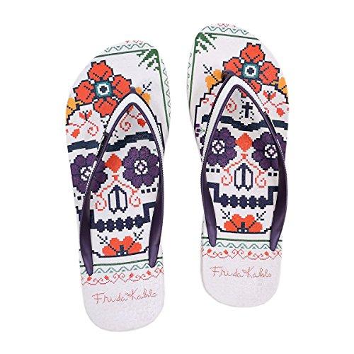Frida Kahlo Flip-Flop Sandals Rose Skull x9xeBkk
