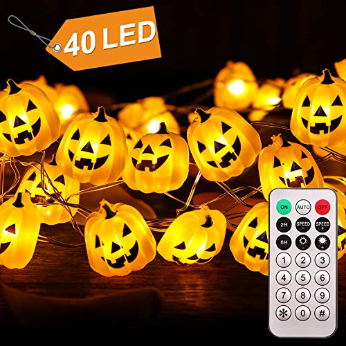 CPPSLEE Halloween Pumpkin String Lights - 40 LED 13.12ft Battery Box Operated with Remote Timer Halloween Decorations Jack-O-Lantern Lights (Melon)