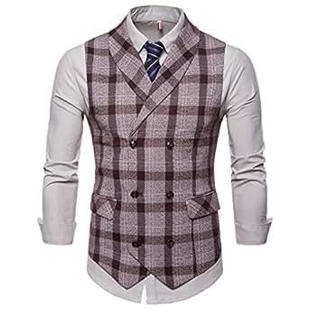 NRUTUP British Suit Men's Plaid Button Casual Gentlement