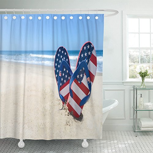 Emvency Shower Curtain Blue July Patriotic USA Flip Flops Sandy Beach Red Waterproof Polyester Fabric 72 x 78 inches Set with Hooks