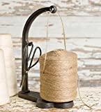 Antique Inspired General Store Cast Iron Twine, String Holder Set with Scissors and Twine
