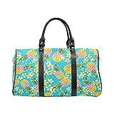 Tropical Flowers Pineapple Small Travel Duffel Bag Waterproof Weekend Bag with Strap