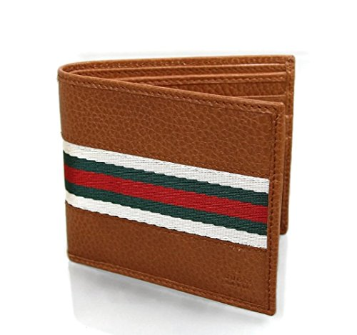 Gucci+Men%27s+Leather+Web+Detail+Bifold+Wallet+231845+%28Brown%2C+White%2F+Green%2F+Red+Web+7662%29